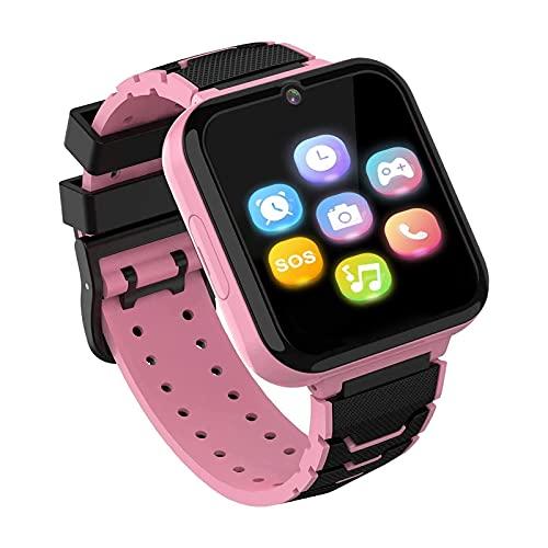 Smartwatch für Kinder, Kinder Smartwatch Telefon für Mädchen und Jungen mit HD Touchscreen Kamera, Spiel Musik Smart Uhr für Alter 3-12 [1 GB Micro SD Enthalten] (ROSA)