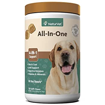 NaturVet All-in-One Dog Supplement - for Joint Support Digestion Skin Coat Care – Dog Vitamins Minerals Omega-3 6 9 – Wheat-Free Supplements for Dogs–120 Soft Chews