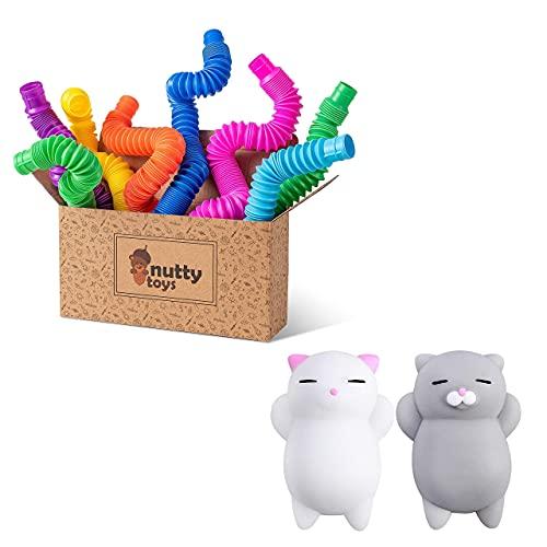 NUTTY TOYS Pop Tube Sensory Toy 8 Pack & Kawaii Squishy Cat 2 Pack - Fine Motor Skills for Toddlers, Kids & Adults - Best Boys Girls Tweens & Teens ADHD Fidget Gift