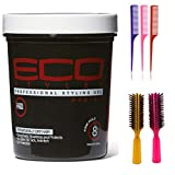 ECOCO Eco Style Gel, Black Protein 32 Ounce (Including 3 Piece Rattail Hair Comb Set & 2 pc Colorful Handle Nylon Bristles Brushes) Eco Styler Hair Gel & Styling Tools Kit