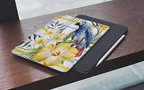 MEMETARO Funda para iPad (9,7 Pulgadas 2018/2017 Modelo), Patrón Tropical con orquídeas Loro y Flores de Hibisco al Estilo de la Selva hawaian Smart Leather Stand Cover with Auto Wake/Sleep