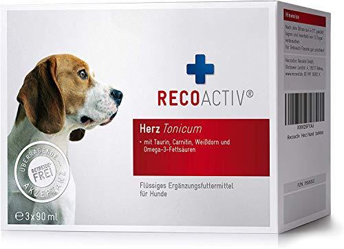 RECOACTIV® Herz Tonicum für Hunde 3 x 90 ml, Herz Nahrungsergänzungsmittel für Hunde in der Rekonvaleszenz bei Herzinsuffizienz mit Taurin, Carnitin Omega-3-Fettsäuren und Weißdorn