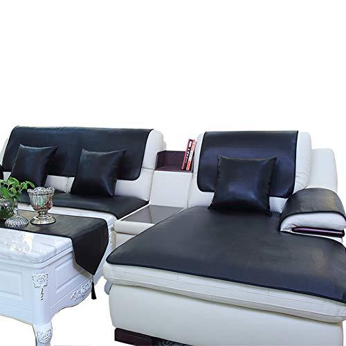 Redsun Kunstleder Sofa Überwurf, Wasserdicht Schnitt Schonbezug Sofa Für Hunde rutschfeste Sofa Throw,Sofa-beschützer-Haustiere-Schwarz 90x210cm(35x83inch)