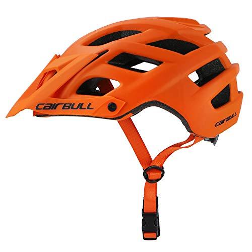 Heemtle Casco MTB per Mountain Bike Casco in EPS + PC Ultraleggero Modellato integralmente Copertura per Mountain Bike Bicicletta da Strada MTB Sport Casco Regolabile 55-61 cm (Arancione)