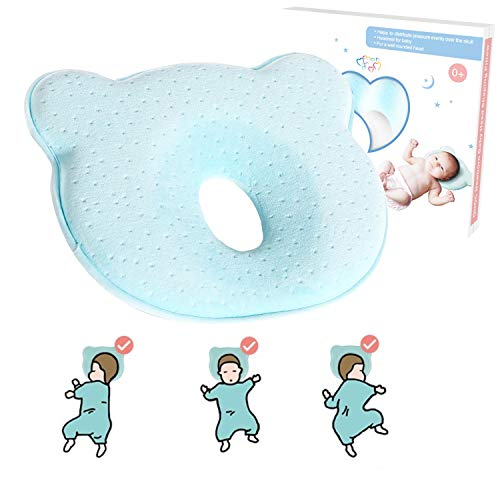 AtoBaby Baby Pillow,Memory Foam Cushion for Flat Head Syndorme Prevention and Head Support,Newborn Baby Head Shaping Pillow