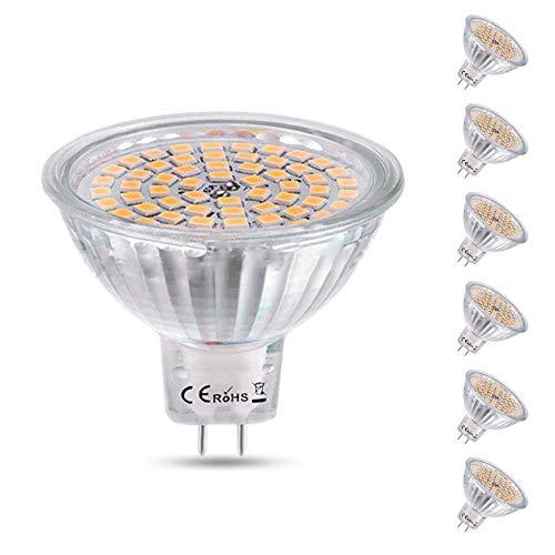 MR16 GU5.3 LED 12V 5W Luz Fría 6500K, Ø50mm, Equivalente a Bombilla Halógena GU5.3 35W 50W, 500LM, 120 Grados Luz, Focos LED AC/DC 12V GU5.3 para Baño/Cocina, no regulable, pack de 6