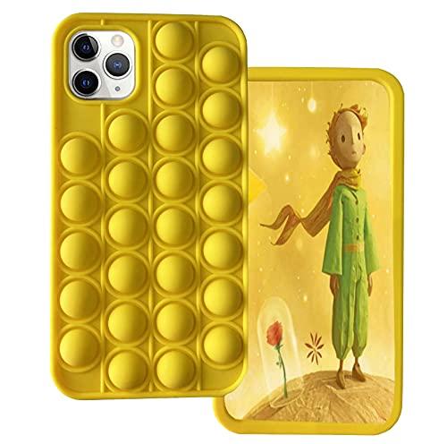 Ffish Custodia per iPhone 8 Plus/7 Plus/6s Plus/6 Plus, Push Pop Bubble Fidget Antistress e Ansia Cover + Supporto per Cellulare, Giallo