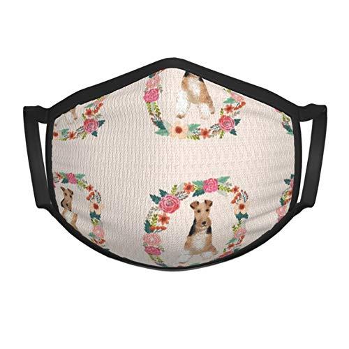Alambre Fox Terrier Guirnalda floral Flores Bufandas de raza de perro Bufanda de cara de sol Bufanda de cara Bucles de oreja Cubierta de polaina de cuello, Bandana de oreja colgante