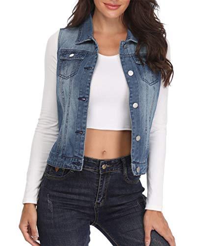MISS MOLY Frauen Denim Weste Damen Blau Jean Jacket Einreiher Flap Brust Taschen Elegante drehen ab Kragen Mode Sleeveless - S