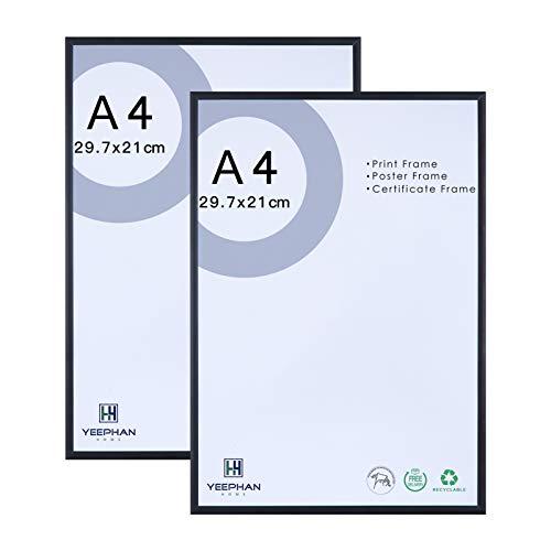 Cadre Photo Noir A4 en Aluminium avec Vitre en Plexiglas,Cadre Photo en Métal 21x30cm,Cadre Pour Certificat pour Affichage Mural et de Table,Lot de 2