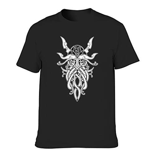 Lässig - Camiseta para hombre, diseño vikingo, Odin guerrero, celta, estampado vintage, ropa cotidiana negro XXXXXXL