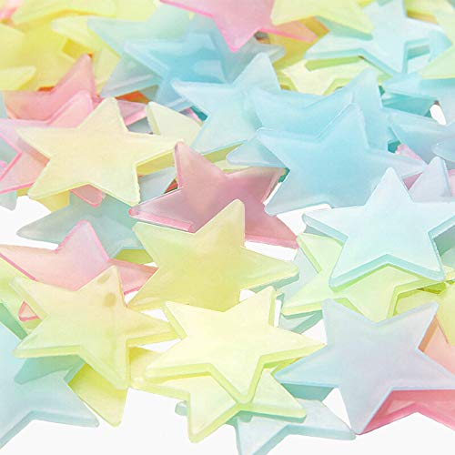 Fluoreszierend Leuchtaufkleber, ZoneYan 1000 Stück Leuchtsterne Selbstklebend Plastik, Fluoreszierende Sterne Selbstklebend, Leuchtende Sterne Zum Kleben, für Kinderzimmer Zimmer Home Dekorative