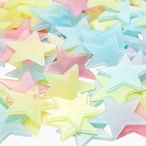 Pegatinas Estrellas Fluorescentes, ZoneYan Luminoso Pegatinas de Pared Estrellas, Adhesivos Estrellas Fluorescentes, Estrellas Fluorescentes Niños, para Niños Cama Habitacióno(1000 Pcs)