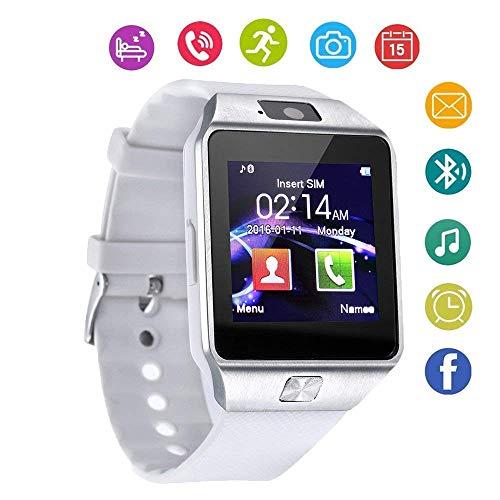 MEISHENG Bluetooth Smart Watch Touch Screen Smartwatch mit Kamera und SIM Card TF/SD-Karten-Slot-Pedometer Fitness Tracker für Android-Phones Samsung Huawei, Smart Watches für Kids Womens Men,White