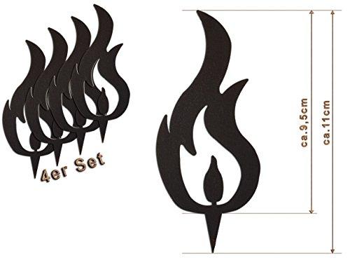 Edelrost Deko-Flamme 4er Set (DREI Spitzen) Größe S/ 11cm: Wunderschöner Deko-Artikel für Ihre Wohnung - Weihnachts-Deko von Manufakt-Design