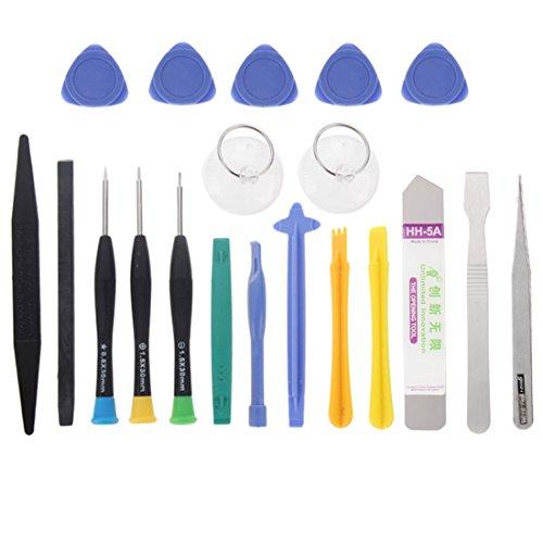 wortek 20 in 1 Universal Reparatur Werkzeugset Set Bildschirm für Smartphones, Handys, PCs, Konsolen, Tablets, eReader und eBooks (großes Set)