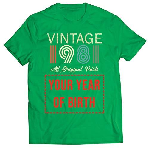 lepni.me T-Shirt pour Hommes Personnalisé avec n'importe Quelle Année Cadeau Vintage Toutes Les Pièces d'origine (Small Vert Multicolore)