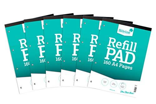 Bloc de 160 folios cuadriculados de recambio, tamaño A4, unidos por la parte superior y con 4 perforaciones para anillas, de Silvine 6 unidades