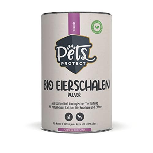 Pets Protect Polvere di guscio d'uovo biologico, 200 g, fonte naturale di calcio per cani e gatti, farina di guscio d'uovo biologico, ricca di minerali e sostanze nutritive ad alta biodisponibilità