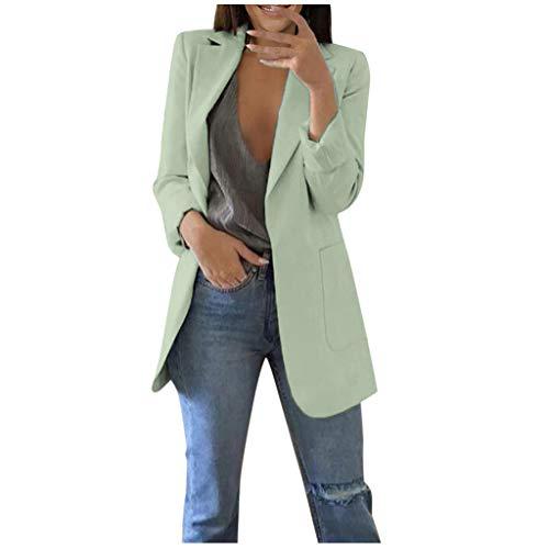 Lulupi Blazer Donna Elegante Lungo Inverno Cardigan Manica Lunga Donna Cappotto con Tasche Tinta Unita Giacca Giubbotto Verde Menta, Vino S-5XL