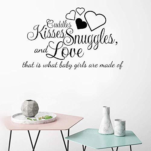 Vivityobert Knuffels Kussen Knuffels en Liefde Dat is Wat Baby Meisjes zijn Gemaakt van Muurstickers voor Meisjes Kamer