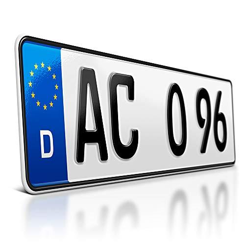schildEVO 1 Kfz Kennzeichen | 420 x 110 mm | DIN-Zertifiziert – individuelles EU Wunschkennzeichen | PKW Nummernschild | kurzes Autokennzeichen | Auto-Schild | Fahrradträger & Anhänger | DHL-Versand