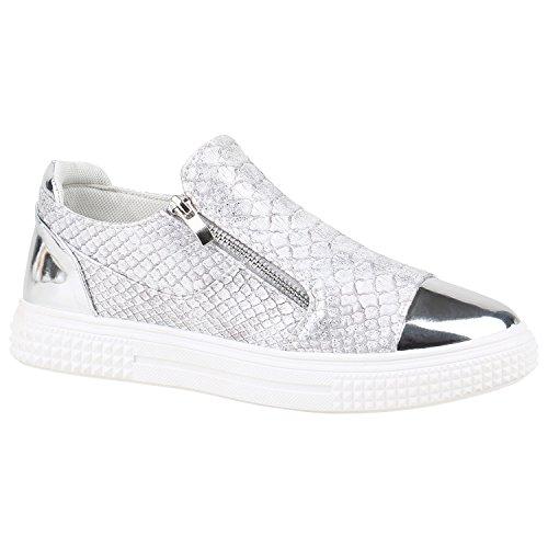 stiefelparadies Damen Schuhe Sneakers Keilabsatz Plateau Glitzer Sneaker-Wedges 155997 Silber Kroko 38 Flandell