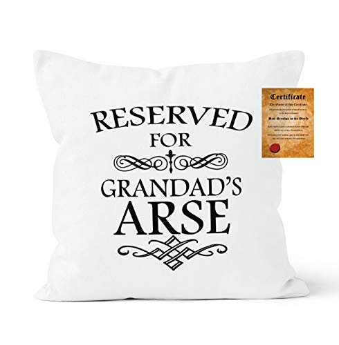 ASHER Reserved For Grandad's Arse Funny Cushion Cover, Cushion Cover Grandad's Gift, 45x45 cm