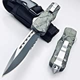 9 inch Tactical Knife Double Edge Blade Outdoor Camping Survival EDC Tools Jungle Camouflage Aviation Aluminum Handle (Single Edge)
