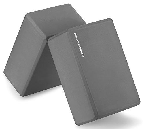 BalanceFrom GoYoga Set of 2 High Density Yoga Blocks, 9'x6'x4' Each [Newest Version] (Gray)