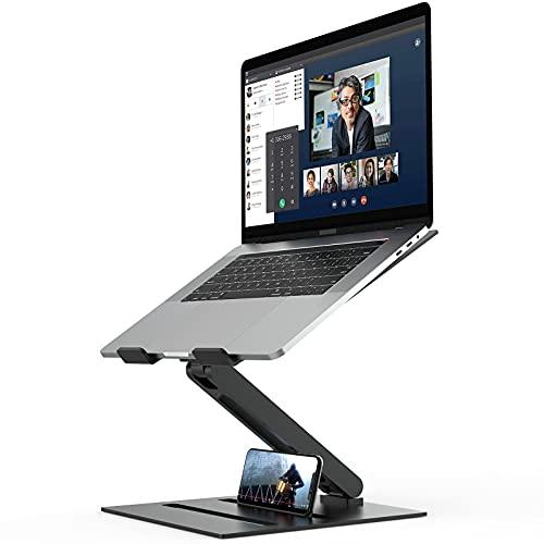 MiiKARE Aluminium Laptop Ständer, höhenverstellbarer Laptop Riser mit Wärmeableitung,faltbares ergonomisches Notebook Erhöhter Ständer, platzsparendes Desktop Fach für Laptops Tablets bis zu 17 Zoll
