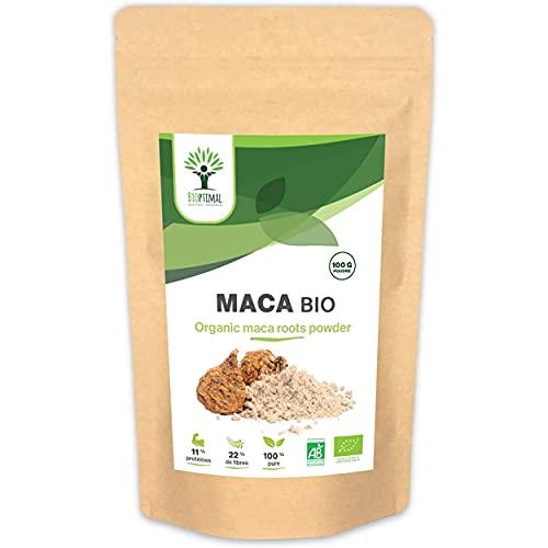 Maca Bio - Complément Alimentaire Bioptimal - Superaliment - Poudre de Maca Jaune du Pérou - Energie Sexualité Fertilité Aphrodisiaque - 100% Pur - Conditionné en France - Certifié Ecocert - 100g