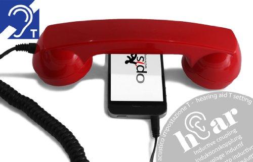 OPIS 60s Micro Hear: Auricular Retro para Usar con el teléfono móvil y audífono (Rojo)