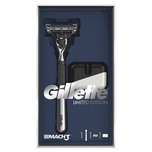 Gillette Mach3 Rasierer Limited Edition Geschenkset mit Chromgriff Rasierer und Rasierständer