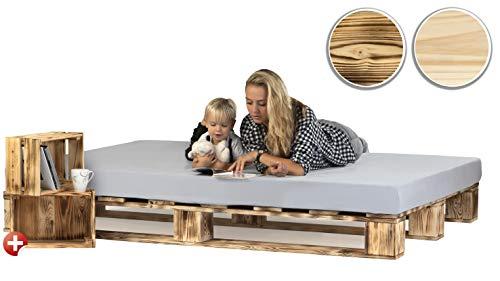 sunnypillow Palettenbett aus Holz Holzbett 140 x 200 cm Massivholzbett Bett aus Paletten Palettenmöbel Geflammt Vintage + 2 Holzkisten gratis
