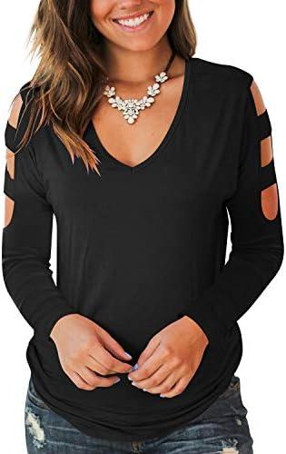 Jescakoo Womens Tops Winter Long Sleeve Sexy Deep V Neck T Shirts Black L product image