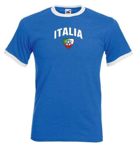 Fruit of the Loom Italia/Italien Herren T-Shirt Team Flag Retro Trikot|royal M