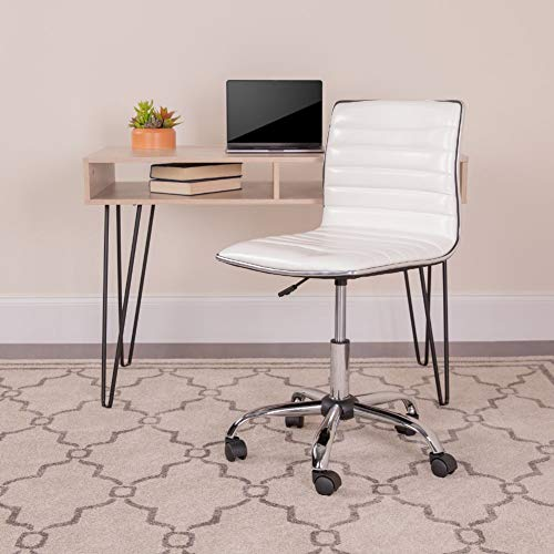 Flash Furniture Low Back Designer Armless White Ribbed Swivel Task Office Chair, BIFMA Certified