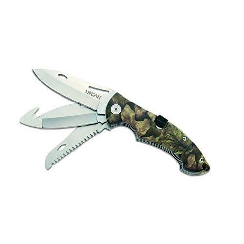 Couteau « Tri-blades » lame 7,5 cm, manche mimétique + scie + lame plus fine