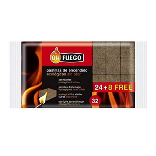 Paquete de 32 Pastillas de Encendido ECOLÓGICAS SIN Olor Fuego para chimeneas, Estufas, barbacoas