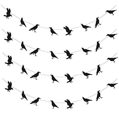 PRETYZOOM 4 Piezas Creativas Banderas de Cuervos de Halloween Colgantes Guirnaldas Fiesta Favorece Suministros Decoración para El Hogar Jardín Escuela