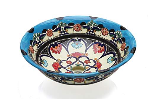 La Reina - Mexikanisches Waschbecken aus Keramik in Blau - Cerames | Waschschale 40,5 cm x 15 cm | Aufsatzwaschbecken aus Mexiko für Badezimmer, Gäste WC, Toiletten