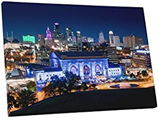 Kansas City Union Station at Night Skyline Gallery Wrapped Canvas Wall Art (30