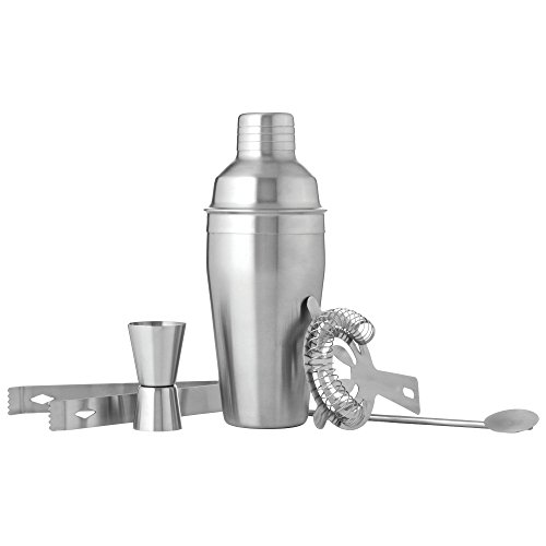 Wyndham House Cocktail Shaker Set for the Home Bar, Stainless Steel, 5-Piece