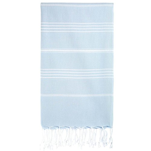 Cacala Turkish Bath Large Luxury Beach Highly Absorbent Quick and Easy Dry Soft and Comfortable Shower Towels for Bathroom, Spa, Pool 100% Organic Cotton Pure Series, 37 x 70, Baby Blue