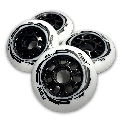 FoxPro Skate 85A Wear-Resistant 84mm SHR PU Speed Inline Roller Skates Replacement Wheels Without Bearings for Indoor Outdoor Wave Board Caster Board Street Surf(Pack of 4 Wheels)(White, 84mm)
