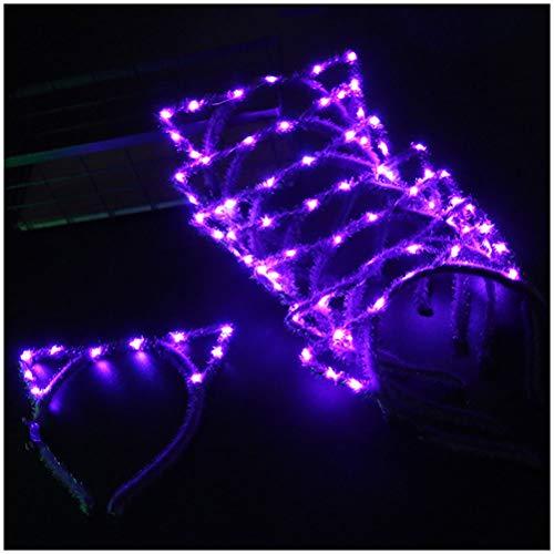 GAOJIAN Diadema Orejas de Gato, LED Diadema Headwear, Diadema Parpadeante para Fiestas, conciertos, 10pcs Purple