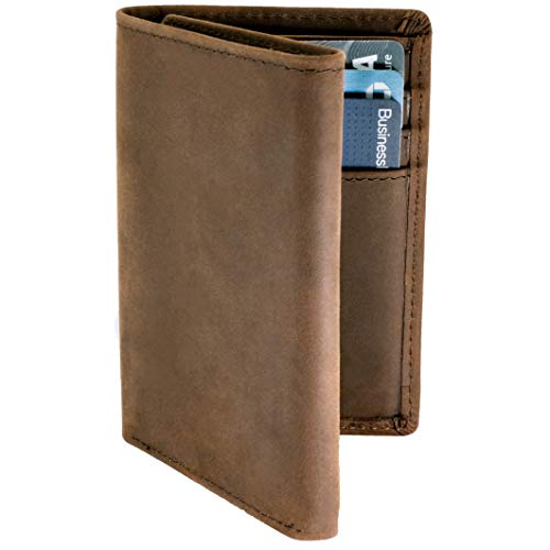 Top Grain Leather Trifold Wallet for Men   Ultra Strong Stitching   Handcrafted Argentinian Leather   RFID Blocking   Extra Capacity Trifold Wallet  Thin and Sophisticated Tri-Fold Design   Perfect Gift for Him