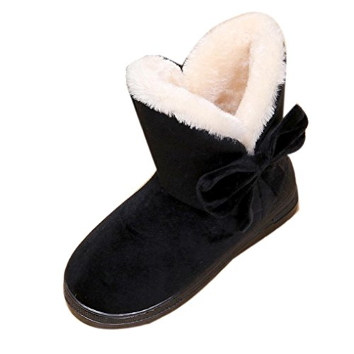 Damen Schlupfstiefel | Bowknot Warme Frauen Wohnungen Schuhe | Schnee Frauen Stiefel | Herbst Winter | Mode Im Freien | Sunday (Schwarz, 36-37 EU)