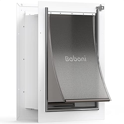 Baboni Pet Door for Wall, Steel Frame and Telescoping Tunnel, Aluminum Lock, Double Flap Dog Door and Cat Door, Strong and Durable (Pets Up to 100 Lb) -Large